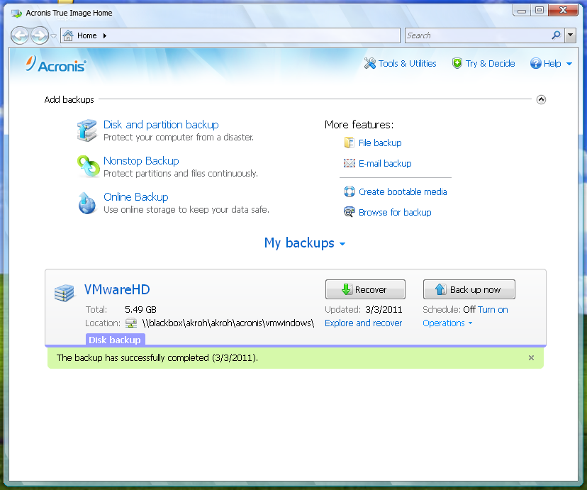 Figure 1: Main screen on the Vista like Acronis user interface. Showing one backup named VMwareHD.